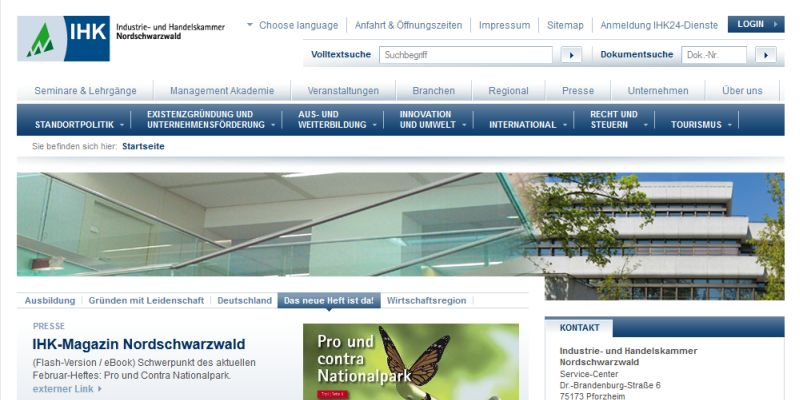 Screenshot der Homepage der IHK